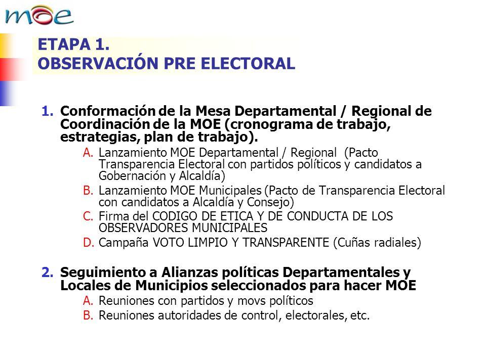 ETAPA 1. OBSERVACIÓN PRE ELECTORAL 1.Conformación de la Mesa Departamental / Regional de Coordinación de la MOE (cronograma de trabajo, estrategias, p