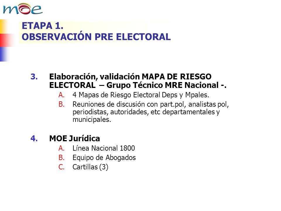 3.Elaboración, validación MAPA DE RIESGO ELECTORAL – Grupo Técnico MRE Nacional -. A.4 Mapas de Riesgo Electoral Deps y Mpales. B.Reuniones de discusi