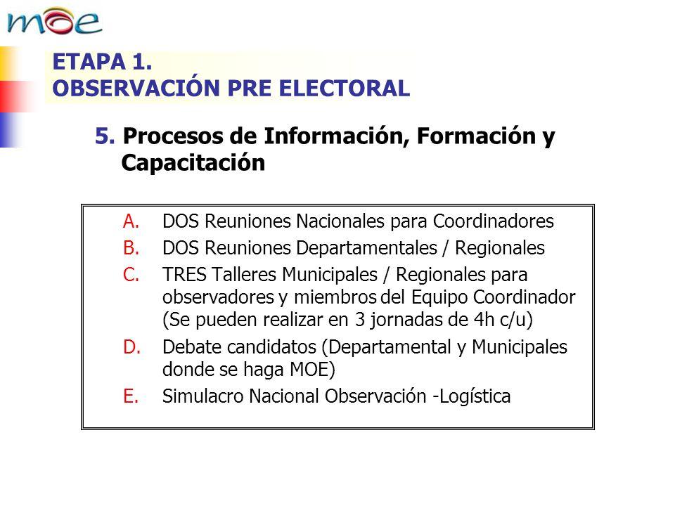 5. Procesos de Información, Formación y Capacitación A.DOS Reuniones Nacionales para Coordinadores B.DOS Reuniones Departamentales / Regionales C.TRES