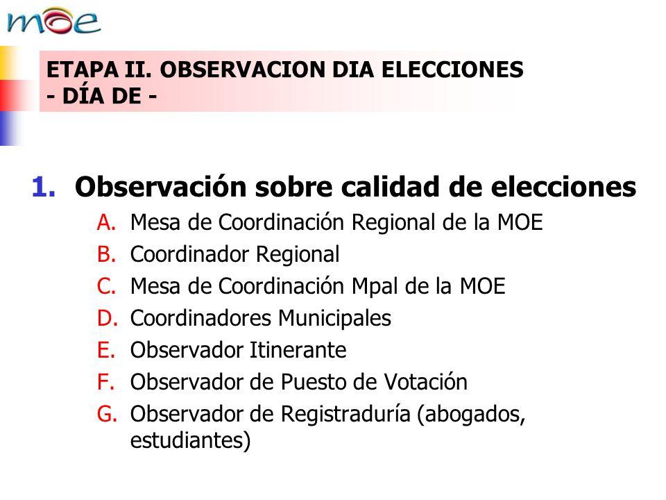 ETAPA II. OBSERVACION DIA ELECCIONES - DÍA DE - 1.Observación sobre calidad de elecciones A.Mesa de Coordinación Regional de la MOE B.Coordinador Regi