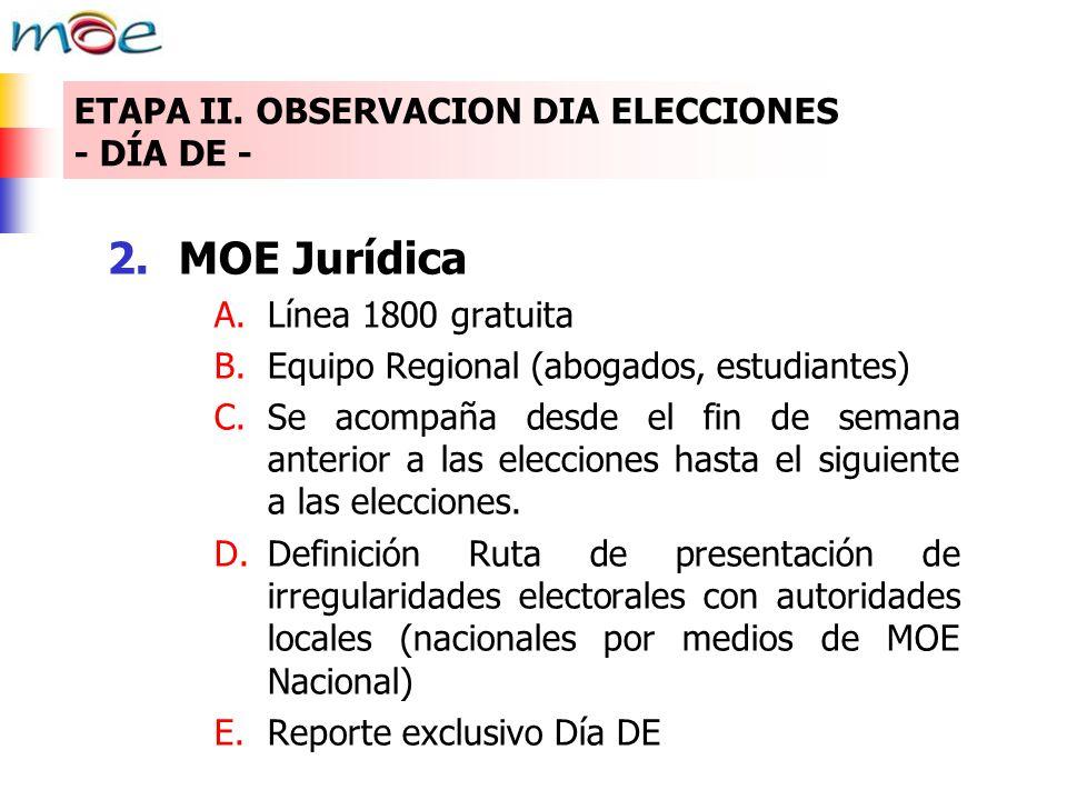 2.MOE Jurídica A.Línea 1800 gratuita B.Equipo Regional (abogados, estudiantes) C.Se acompaña desde el fin de semana anterior a las elecciones hasta el siguiente a las elecciones.