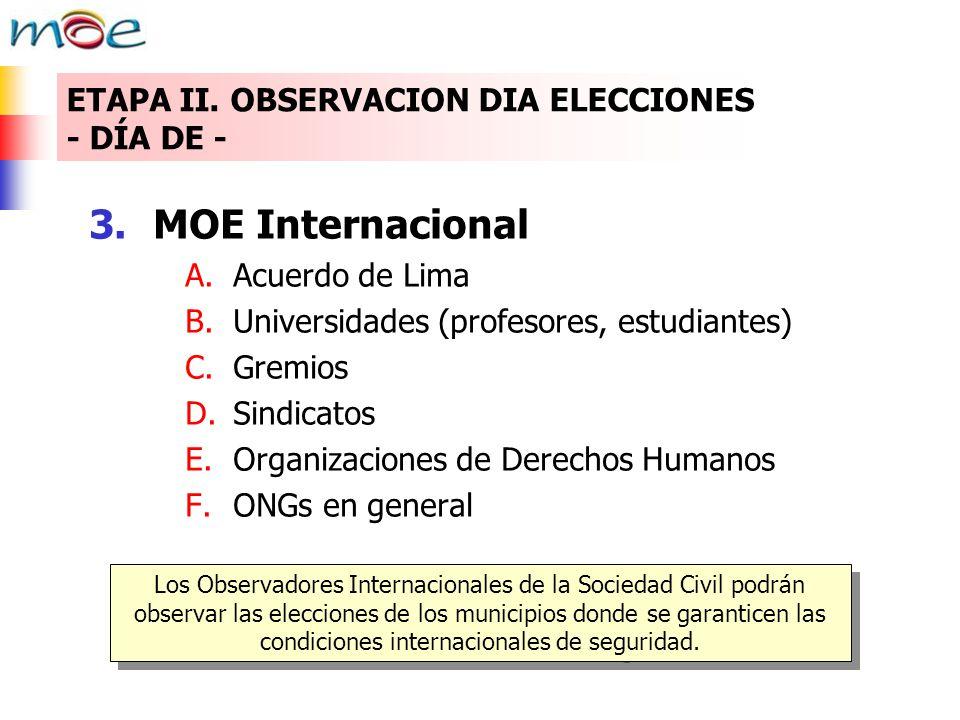 3.MOE Internacional A.Acuerdo de Lima B.Universidades (profesores, estudiantes) C.Gremios D.Sindicatos E.Organizaciones de Derechos Humanos F.ONGs en general Los Observadores Internacionales de la Sociedad Civil podrán observar las elecciones de los municipios donde se garanticen las condiciones internacionales de seguridad.