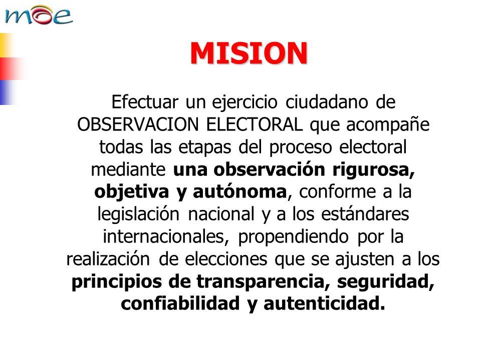 MISION Efectuar un ejercicio ciudadano de OBSERVACION ELECTORAL que acompañe todas las etapas del proceso electoral mediante una observación rigurosa,