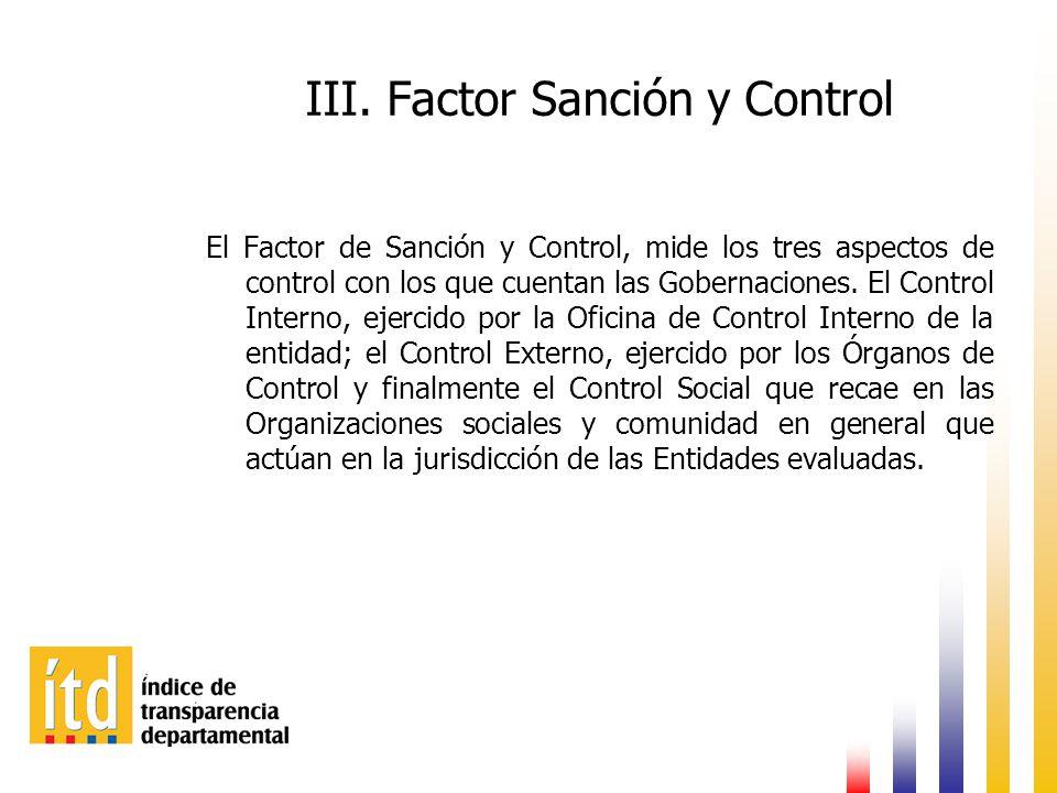 III. Factor Sanción y Control El Factor de Sanción y Control, mide los tres aspectos de control con los que cuentan las Gobernaciones. El Control Inte