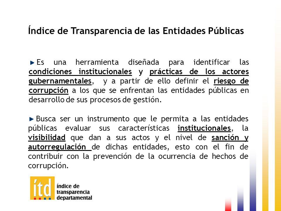 Resultado General ITD VISIBILIDAD 59,5 INSTITUCIONALIDAD 67,3 CONTROL Y SANCIÓN 71,8 ITD 66,2 Promedio de Calificación de las 32 Gobernaciones por Indicador.
