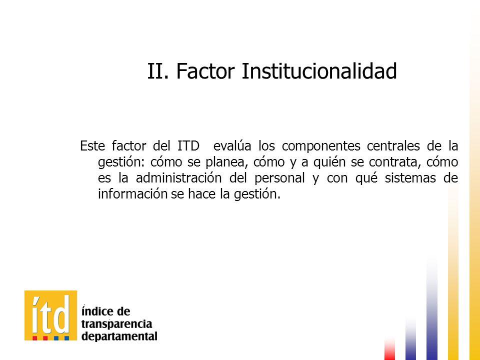II. Factor Institucionalidad Este factor del ITD evalúa los componentes centrales de la gestión: cómo se planea, cómo y a quién se contrata, cómo es l