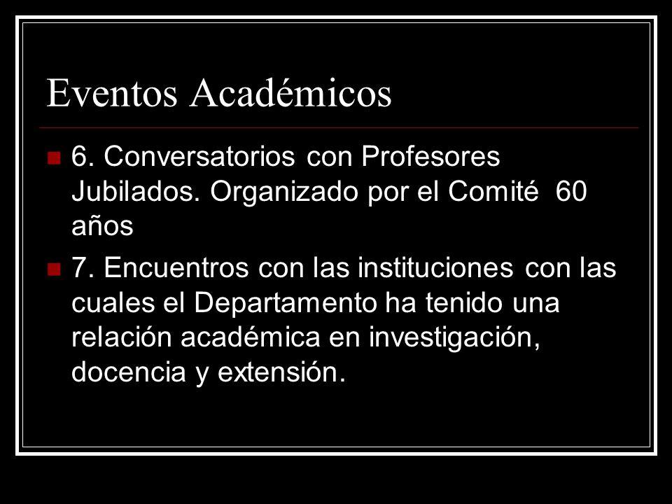 Eventos Académicos 6. Conversatorios con Profesores Jubilados.