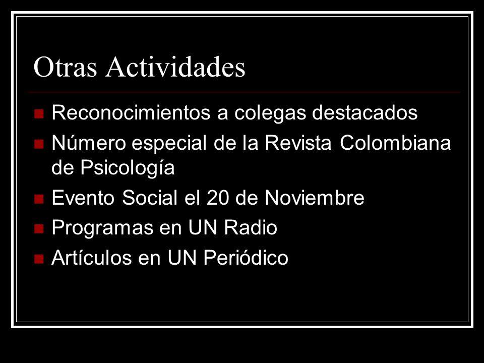 Otras Actividades Reconocimientos a colegas destacados Número especial de la Revista Colombiana de Psicología Evento Social el 20 de Noviembre Programas en UN Radio Artículos en UN Periódico