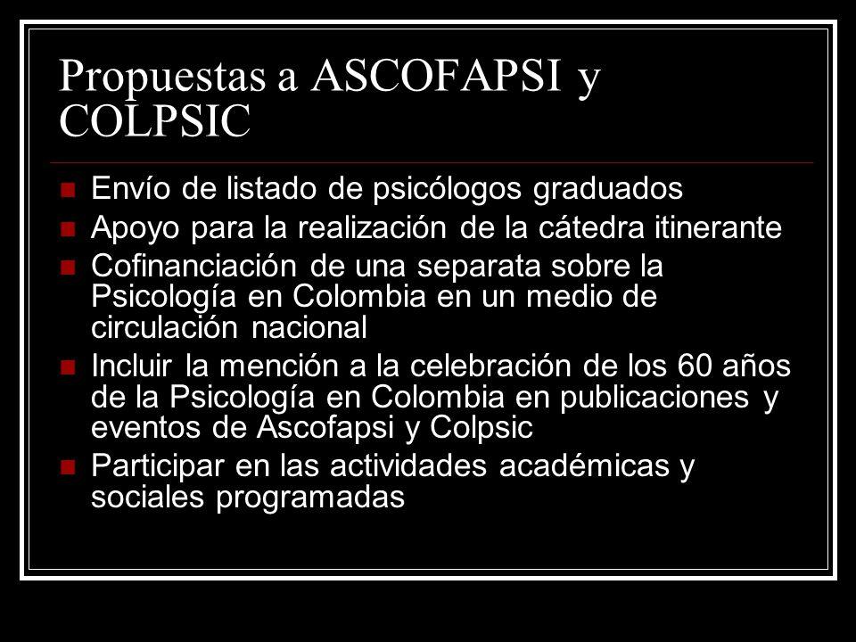 Propuestas a ASCOFAPSI y COLPSIC Envío de listado de psicólogos graduados Apoyo para la realización de la cátedra itinerante Cofinanciación de una separata sobre la Psicología en Colombia en un medio de circulación nacional Incluir la mención a la celebración de los 60 años de la Psicología en Colombia en publicaciones y eventos de Ascofapsi y Colpsic Participar en las actividades académicas y sociales programadas