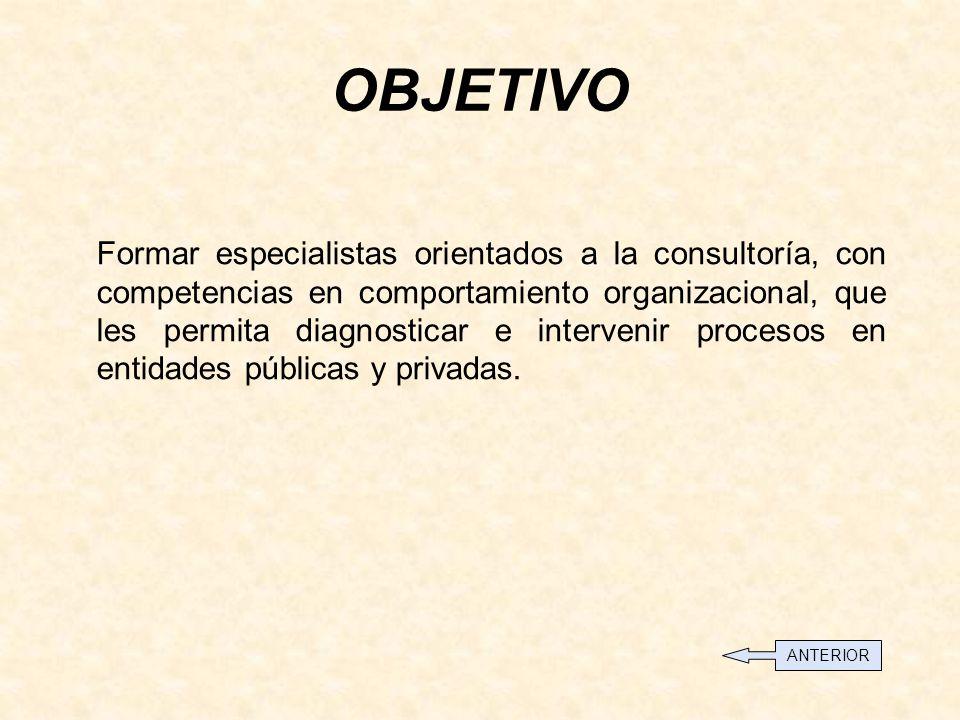OBJETIVO Formar especialistas orientados a la consultoría, con competencias en comportamiento organizacional, que les permita diagnosticar e intervenir procesos en entidades públicas y privadas.