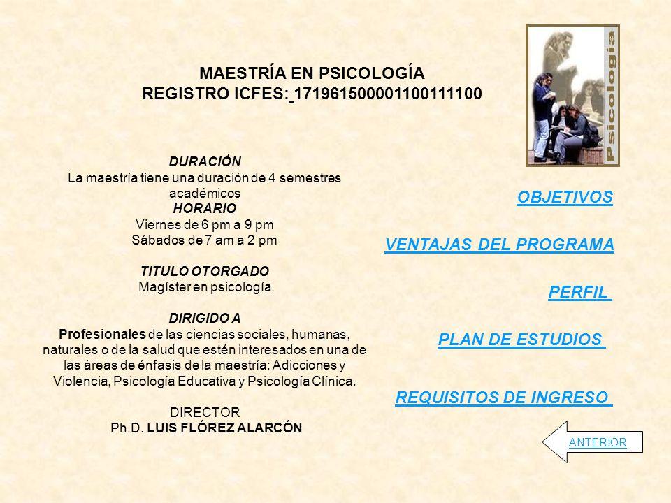 MAESTRÍA EN PSICOLOGÍA REGISTRO ICFES: 171961500001100111100 OBJETIVOS PERFIL VENTAJAS DEL PROGRAMA ANTERIOR DURACIÓN La maestría tiene una duración de 4 semestres académicos HORARIO Viernes de 6 pm a 9 pm Sábados de 7 am a 2 pm TITULO OTORGADO Magíster en psicología.
