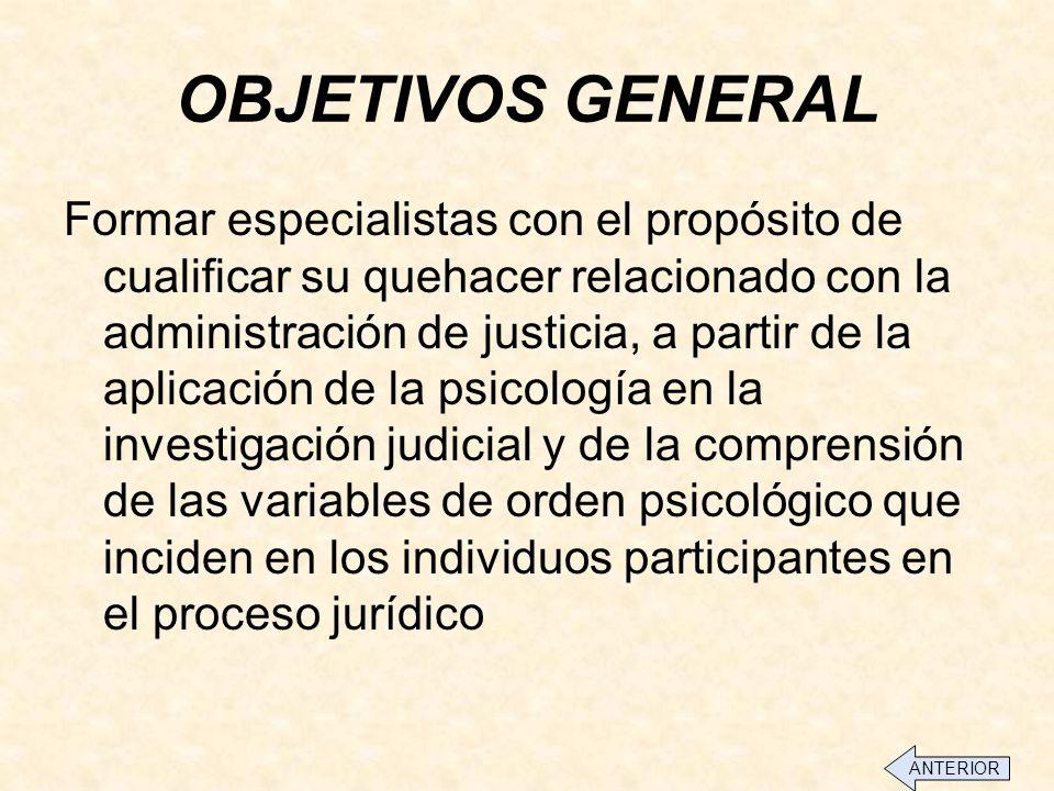 OBJETIVOS GENERAL Formar especialistas con el propósito de cualificar su quehacer relacionado con la administración de justicia, a partir de la aplicación de la psicología en la investigación judicial y de la comprensión de las variables de orden psicológico que inciden en los individuos participantes en el proceso jurídico ANTERIOR
