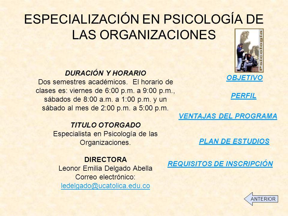 ESPECIALIZACIÓN EN PSICOLOGÍA DE LAS ORGANIZACIONES PERFIL OBJETIVO DURACIÓN Y HORARIO Dos semestres académicos.