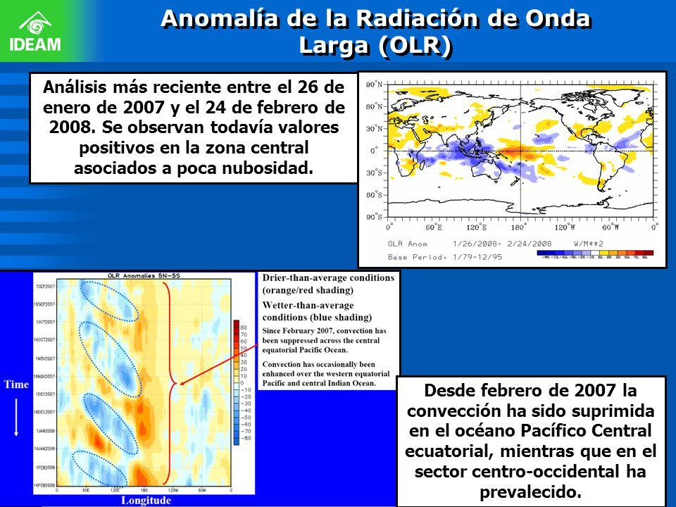 Anomalía de la Radiación de Onda Larga (OLR) Análisis más reciente entre el 26 de enero de 2007 y el 24 de febrero de 2008. Se observan todavía valore