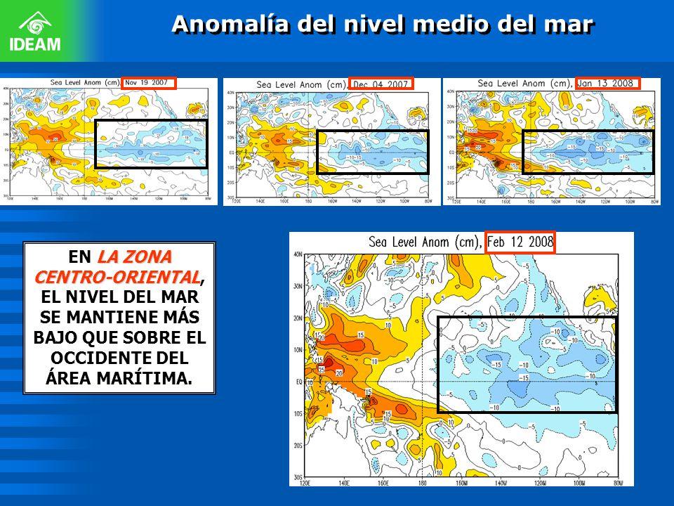 Anomalía del nivel medio del mar LA ZONA CENTRO-ORIENTAL EN LA ZONA CENTRO-ORIENTAL, EL NIVEL DEL MAR SE MANTIENE MÁS BAJO QUE SOBRE EL OCCIDENTE DEL