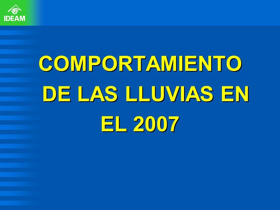 COMPORTAMIENTO DE LAS LLUVIAS EN EL 2007 COMPORTAMIENTO DE LAS LLUVIAS EN EL 2007