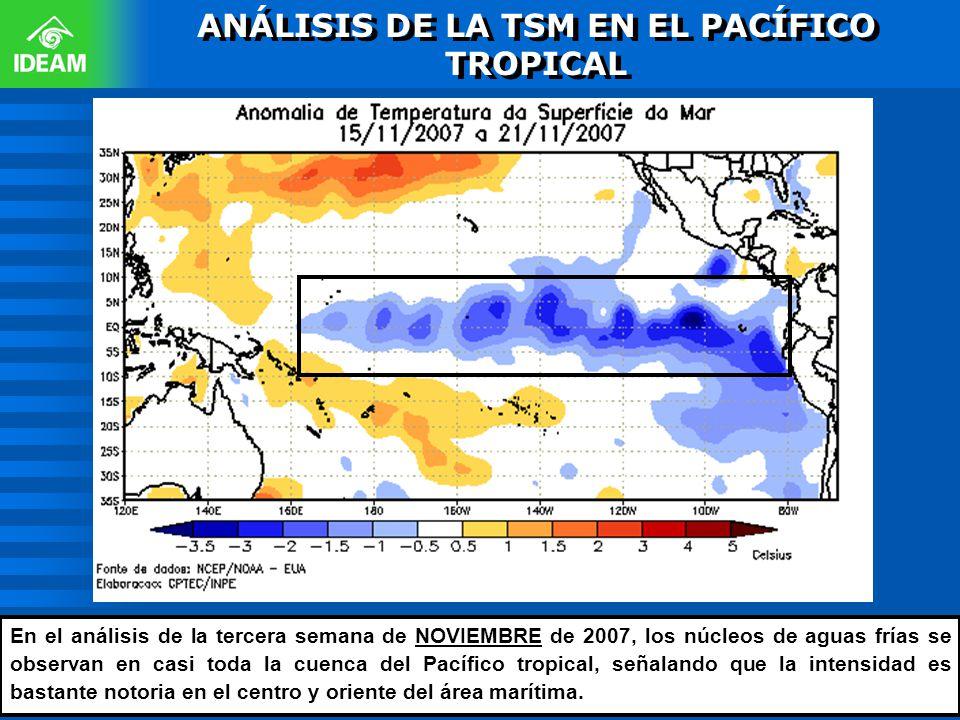 ANÁLISIS DE LA TSM EN EL PACÍFICO TROPICAL En el análisis de la tercera semana de NOVIEMBRE de 2007, los núcleos de aguas frías se observan en casi to