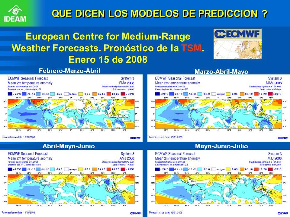 QUE DICEN LOS MODELOS DE PREDICCION ? European Centre for Medium-Range Weather Forecasts. Pronóstico de la TSM. Enero 15 de 2008 Abril-Mayo-Junio Febr