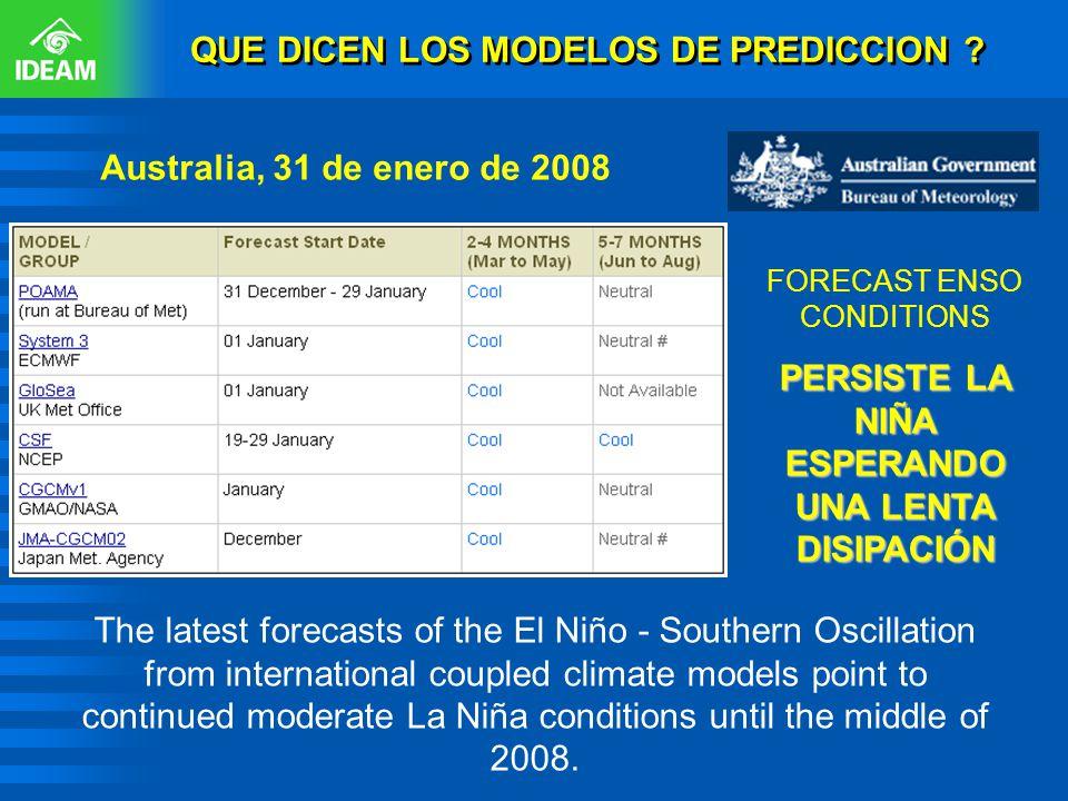 QUE DICEN LOS MODELOS DE PREDICCION ? FORECAST ENSO CONDITIONS PERSISTE LA NIÑA ESPERANDO UNA LENTA DISIPACIÓN Australia, 31 de enero de 2008 The late