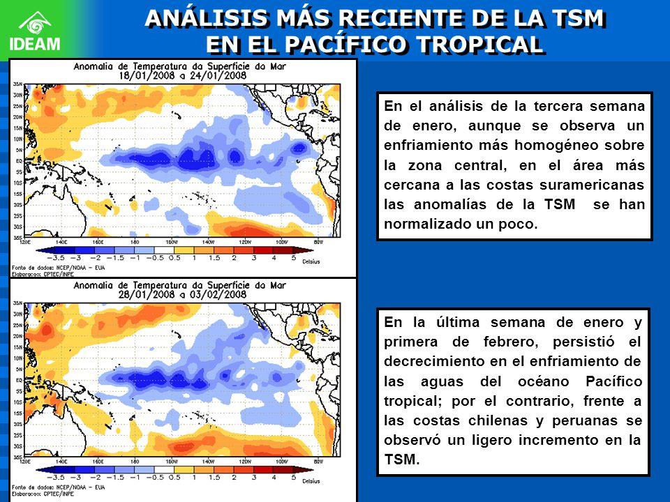 En el análisis de la tercera semana de enero, aunque se observa un enfriamiento más homogéneo sobre la zona central, en el área más cercana a las cost