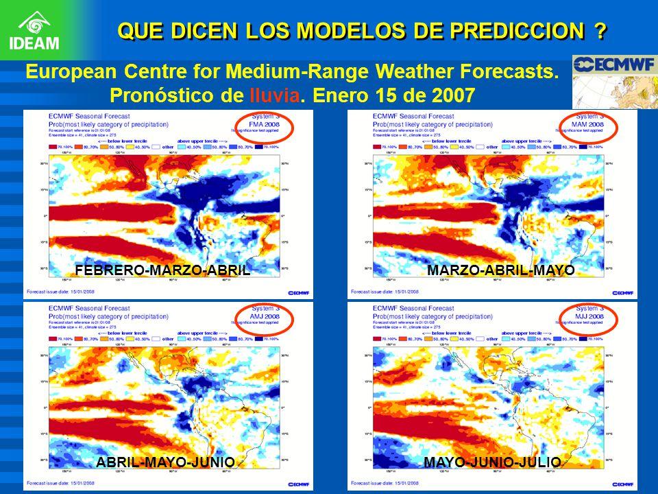 European Centre for Medium-Range Weather Forecasts. Pronóstico de lluvia. Enero 15 de 2007 MAYO-JUNIO-JULIO MARZO-ABRIL-MAYO ABRIL-MAYO-JUNIO FEBRERO-