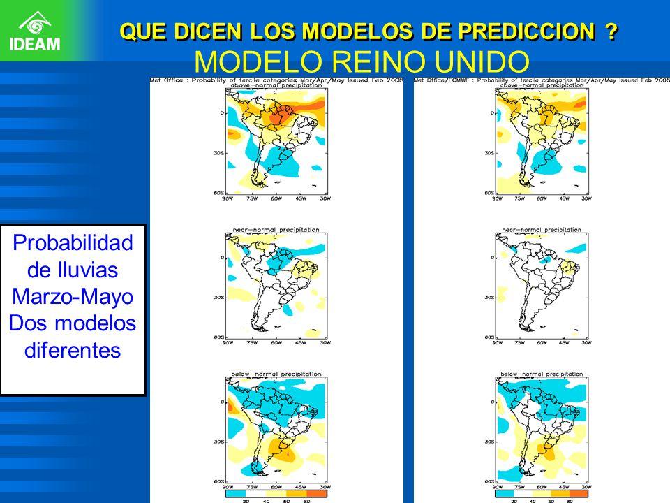 QUE DICEN LOS MODELOS DE PREDICCION ? MODELO REINO UNIDO Probabilidad de lluvias Marzo-Mayo Dos modelos diferentes