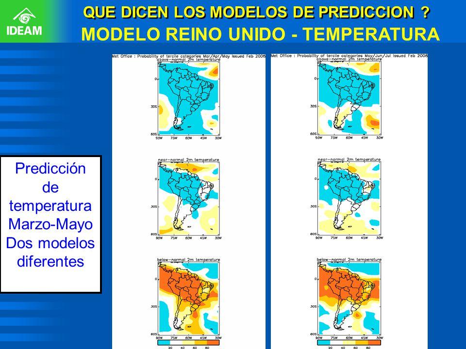 QUE DICEN LOS MODELOS DE PREDICCION ? MODELO REINO UNIDO - TEMPERATURA Predicción de temperatura Marzo-Mayo Dos modelos diferentes