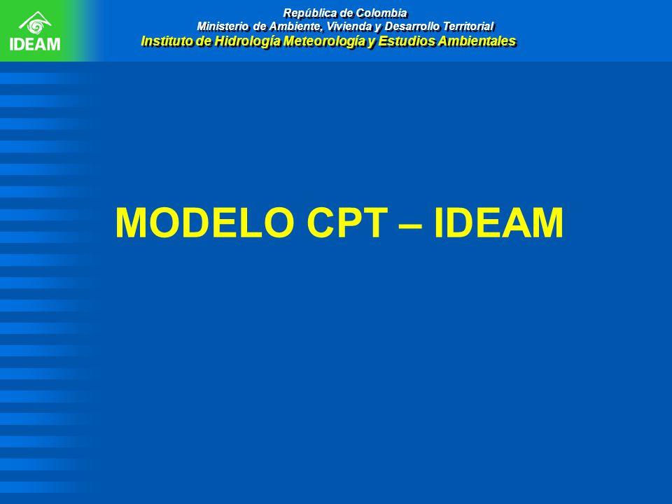 MODELO CPT – IDEAM República de Colombia Ministerio de Ambiente, Vivienda y Desarrollo Territorial Instituto de Hidrología Meteorología y Estudios Amb