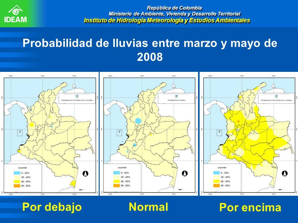 Probabilidad de lluvias entre marzo y mayo de 2008 República de Colombia Ministerio de Ambiente, Vivienda y Desarrollo Territorial Instituto de Hidrol