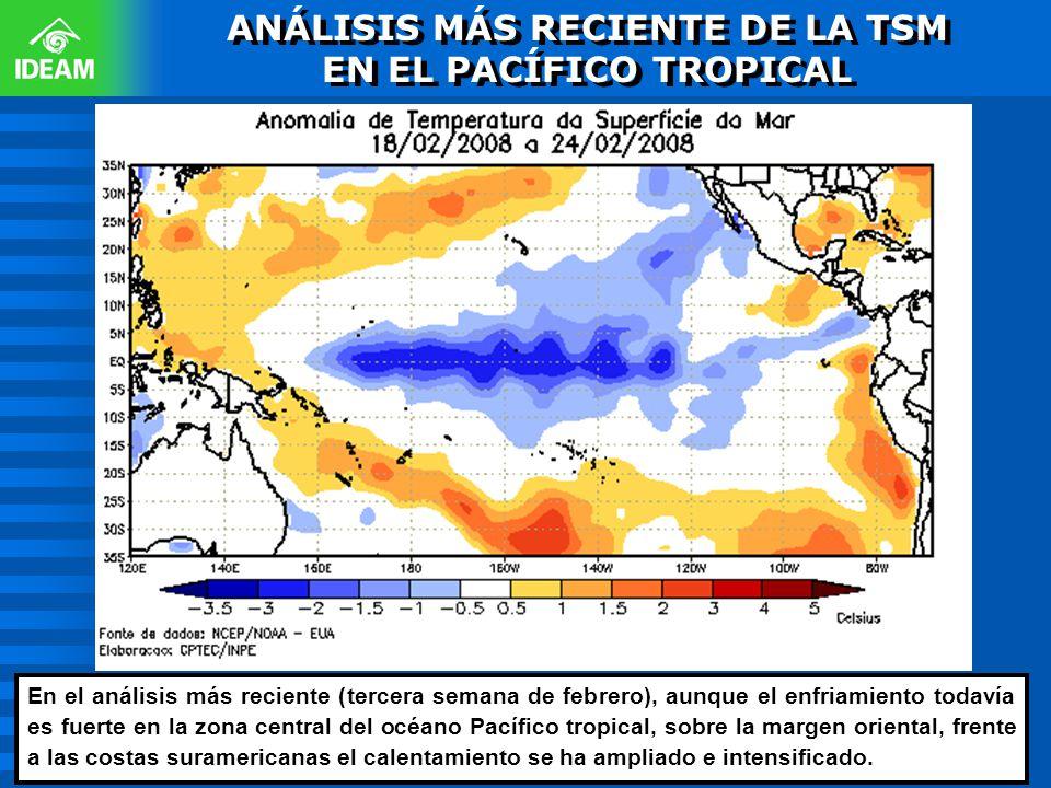 En el análisis más reciente (tercera semana de febrero), aunque el enfriamiento todavía es fuerte en la zona central del océano Pacífico tropical, sob