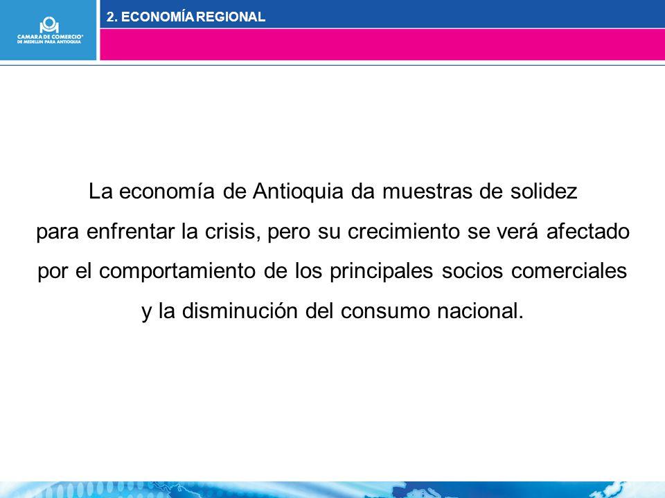 La economía de Antioquia da muestras de solidez para enfrentar la crisis, pero su crecimiento se verá afectado por el comportamiento de los principales socios comerciales y la disminución del consumo nacional.
