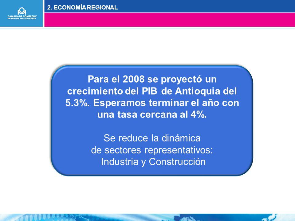 2. ECONOMÍA REGIONAL Para el 2008 se proyectó un crecimiento del PIB de Antioquia del 5.3%.