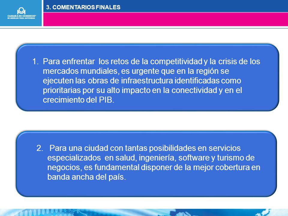 3. COMENTARIOS FINALES 1.Para enfrentar los retos de la competitividad y la crisis de los mercados mundiales, es urgente que en la región se ejecuten