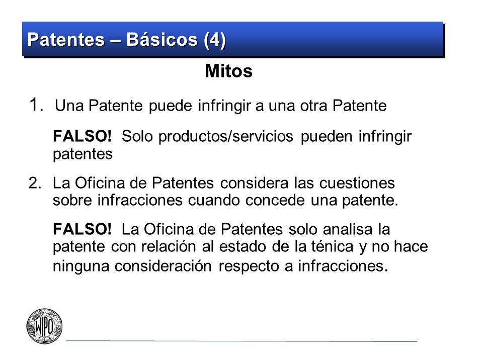 Patentes – Básicos (4) Mitos 1.Una Patente puede infringir a una otra Patente FALSO.