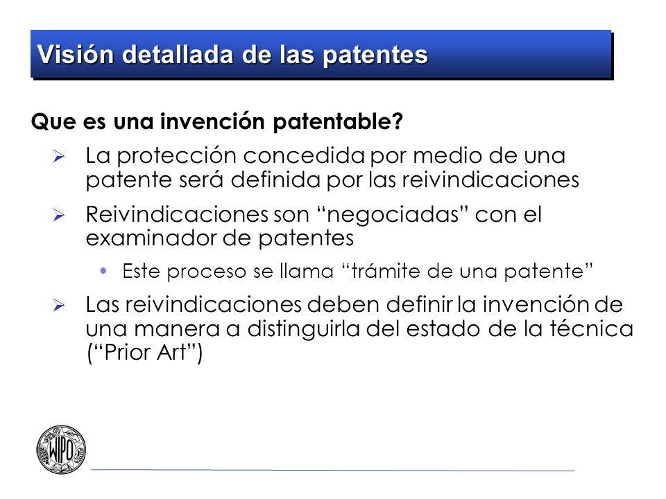Visión detallada de las patentes Que es una invención patentable? La protección concedida por medio de una patente será definida por las reivindicacio