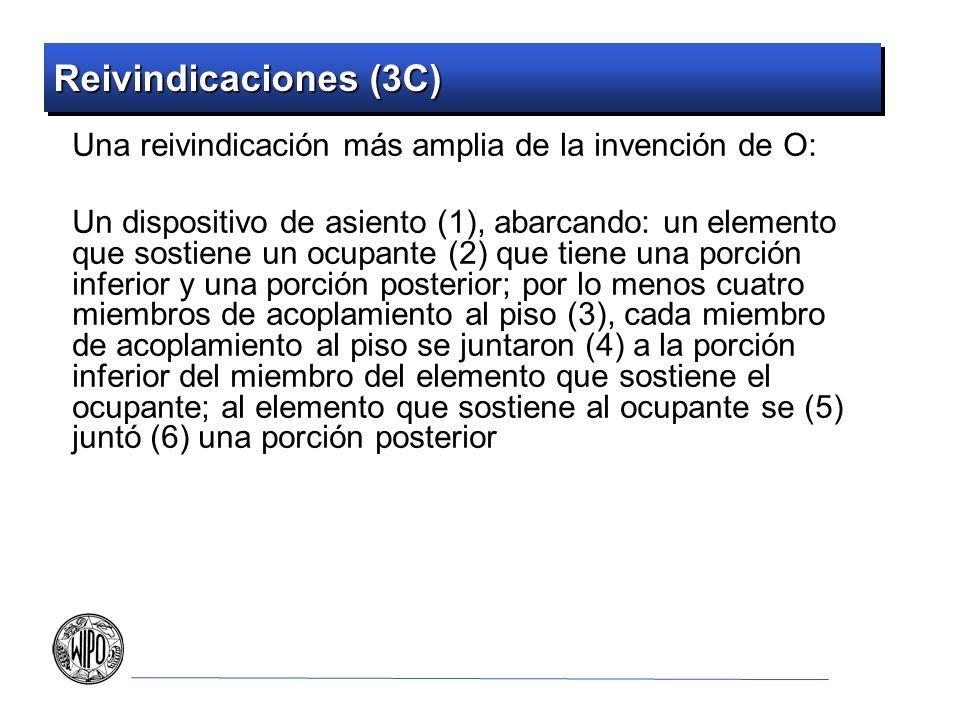 Reivindicaciones (3C) Una reivindicación más amplia de la invención de O: Un dispositivo de asiento (1), abarcando: un elemento que sostiene un ocupante (2) que tiene una porción inferior y una porción posterior; por lo menos cuatro miembros de acoplamiento al piso (3), cada miembro de acoplamiento al piso se juntaron (4) a la porción inferior del miembro del elemento que sostiene el ocupante; al elemento que sostiene al ocupante se (5) juntó (6) una porción posterior