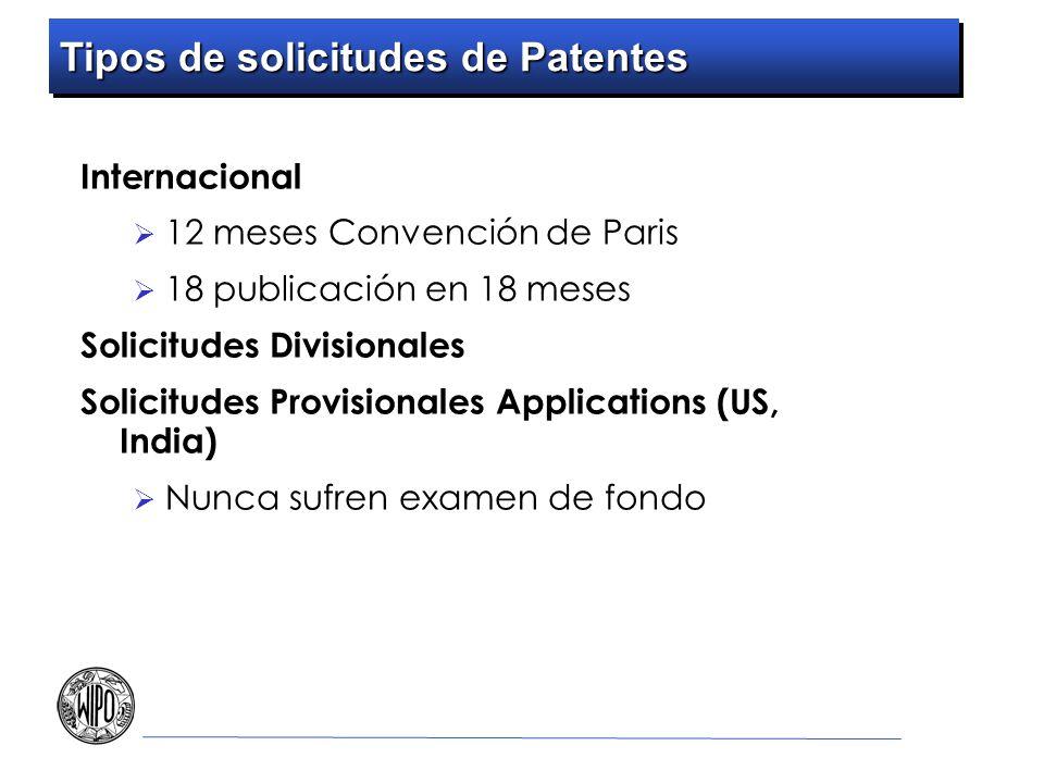 Internacional 12 meses Convención de Paris 18 publicación en 18 meses Solicitudes Divisionales Solicitudes Provisionales Applications (US, India) Nunca sufren examen de fondo Tipos de solicitudes de Patentes