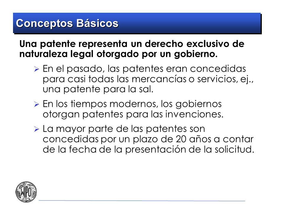 Conceptos Básicos Una patente representa un derecho exclusivo de naturaleza legal otorgado por un gobierno. En el pasado, las patentes eran concedidas