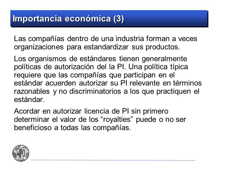 Importancia económica (3) Las compañías dentro de una industria forman a veces organizaciones para estandardizar sus productos. Los organismos de está