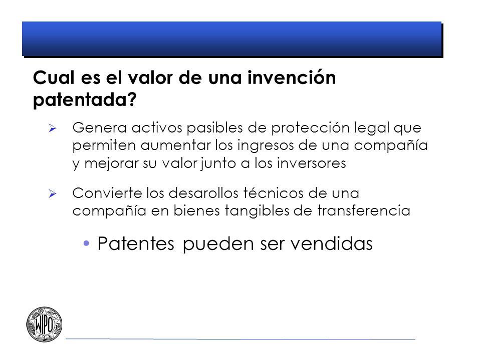 Cual es el valor de una invención patentada? Genera activos pasibles de protección legal que permiten aumentar los ingresos de una compañía y mejorar