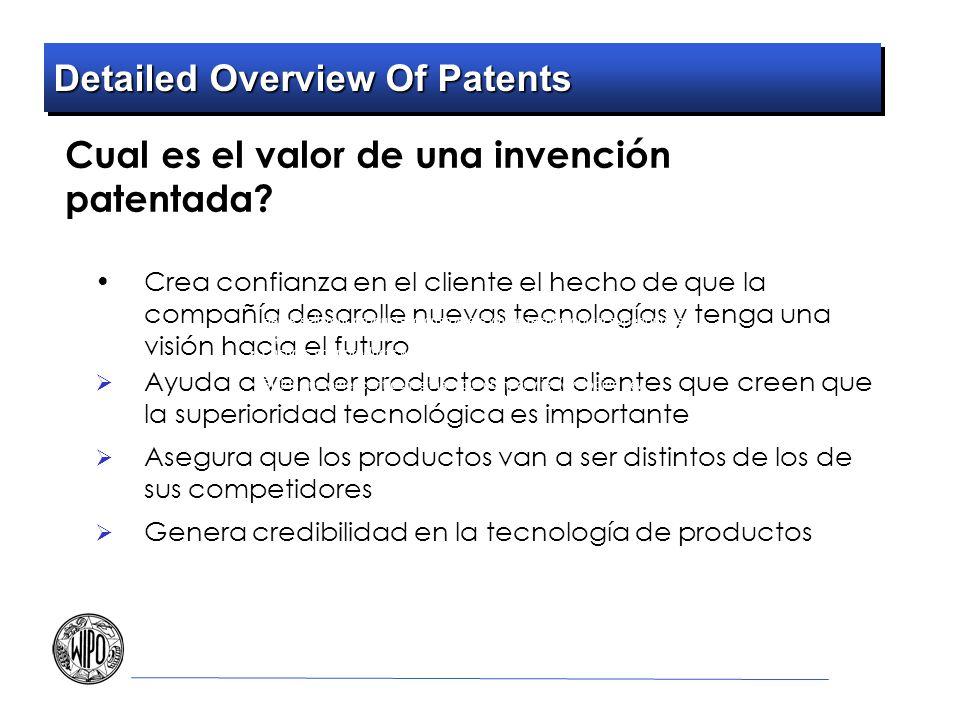 Detailed Overview Of Patents Cual es el valor de una invención patentada? Crea confianza en el cliente el hecho de que la compañía desarolle nuevas te