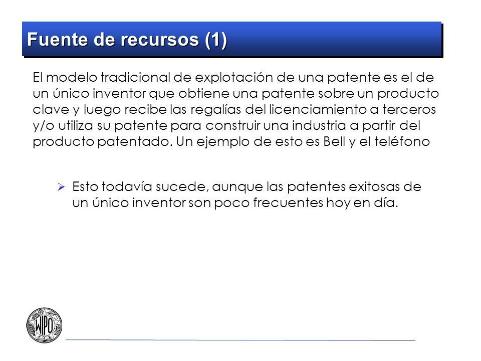 Fuente de recursos (1) El modelo tradicional de explotación de una patente es el de un único inventor que obtiene una patente sobre un producto clave y luego recibe las regalías del licenciamiento a terceros y/o utiliza su patente para construir una industria a partir del producto patentado.