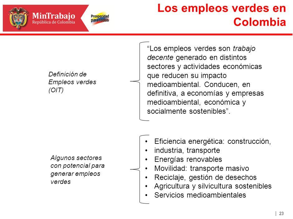 | 23 Los empleos verdes en Colombia Los empleos verdes son trabajo decente generado en distintos sectores y actividades económicas que reducen su impa