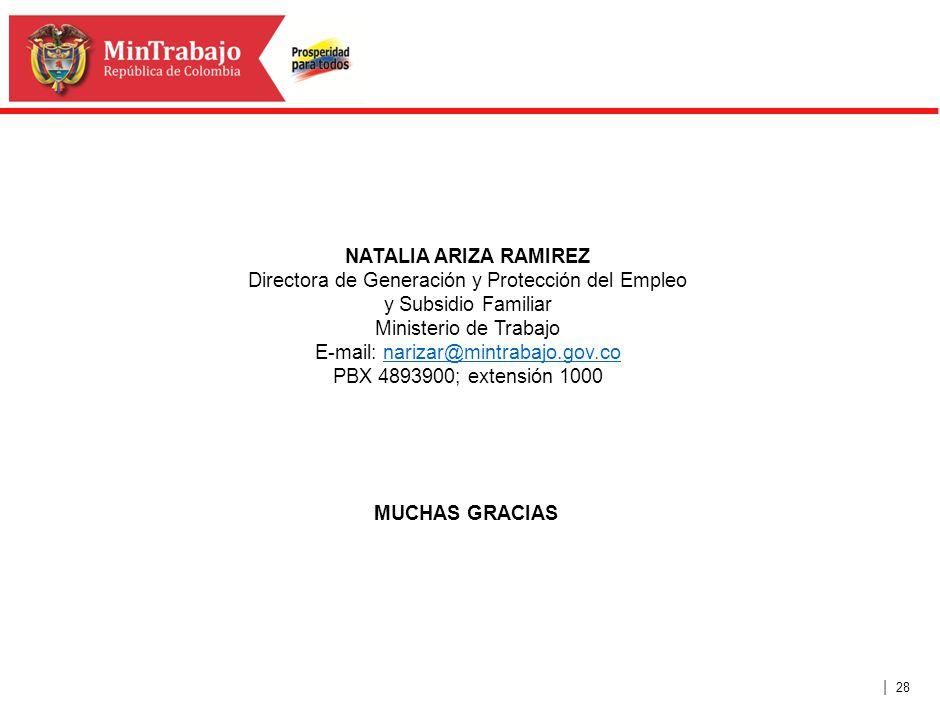 | 28 MUCHAS GRACIAS NATALIA ARIZA RAMIREZ Directora de Generación y Protección del Empleo y Subsidio Familiar Ministerio de Trabajo E-mail: narizar@mi