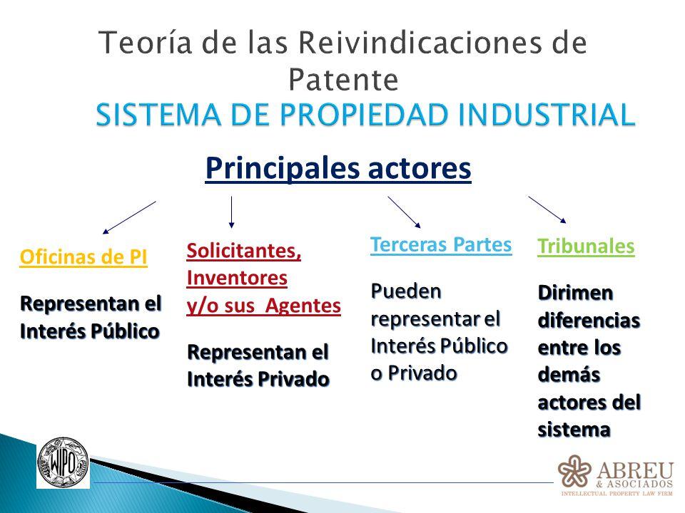 Teoría de las Reivindicaciones de Patente Principales actores Oficinas de PI Representan el Interés Público Solicitantes, Inventores y/o sus Agentes R