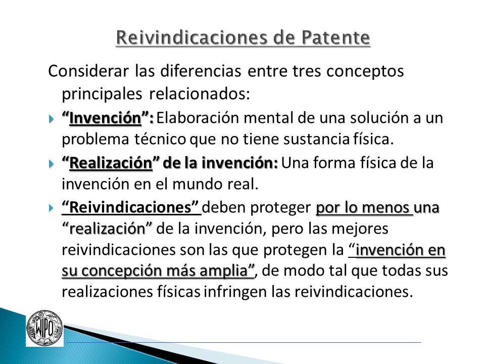 Considerar las diferencias entre tres conceptos principales relacionados: Invención:Invención: Elaboración mental de una solución a un problema técnic