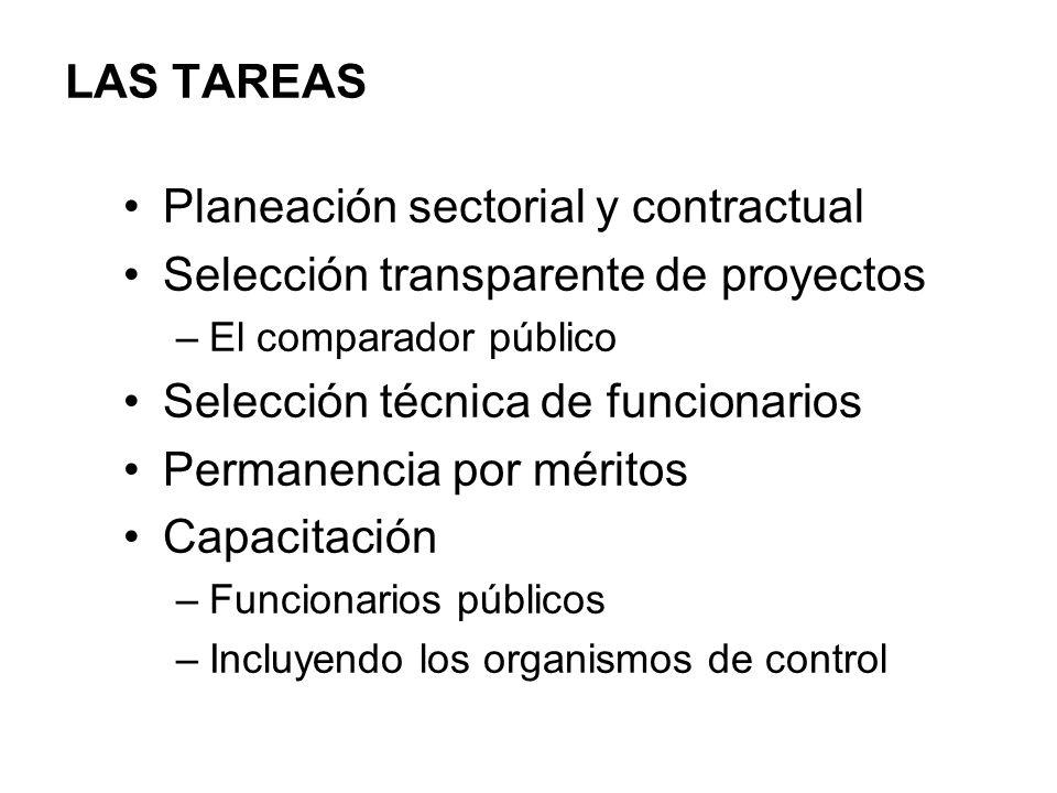 LAS TAREAS Planeación sectorial y contractual Selección transparente de proyectos –El comparador público Selección técnica de funcionarios Permanencia