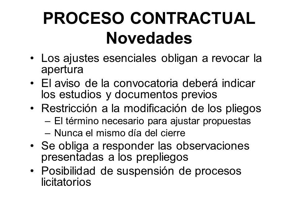 PROCESO CONTRACTUAL Novedades Los ajustes esenciales obligan a revocar la apertura El aviso de la convocatoria deberá indicar los estudios y documento