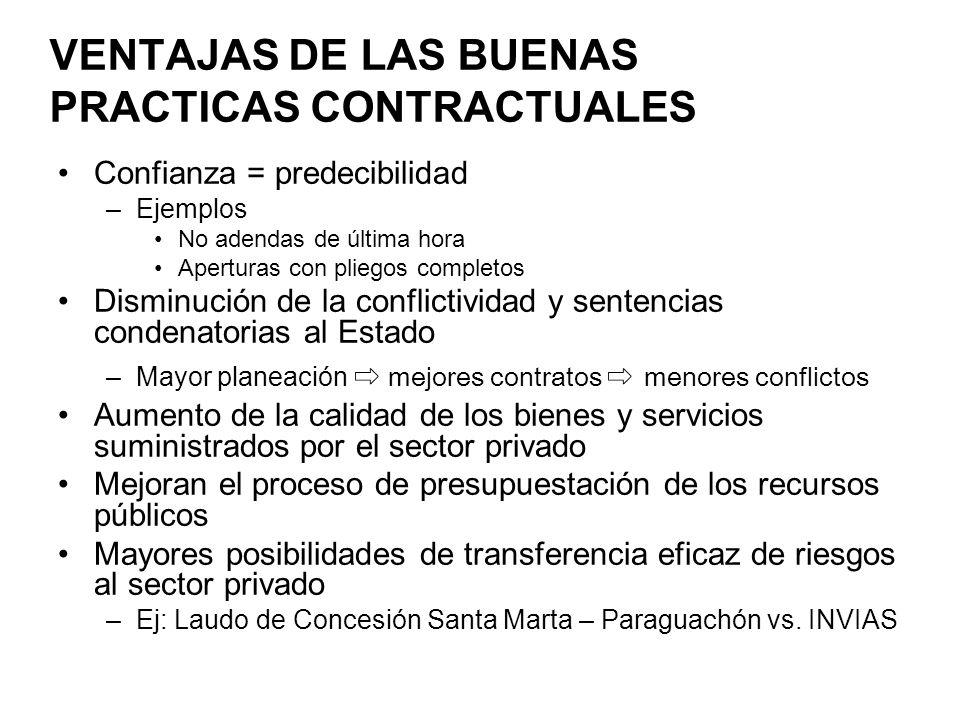 VENTAJAS DE LAS BUENAS PRACTICAS CONTRACTUALES Confianza = predecibilidad –Ejemplos No adendas de última hora Aperturas con pliegos completos Disminuc