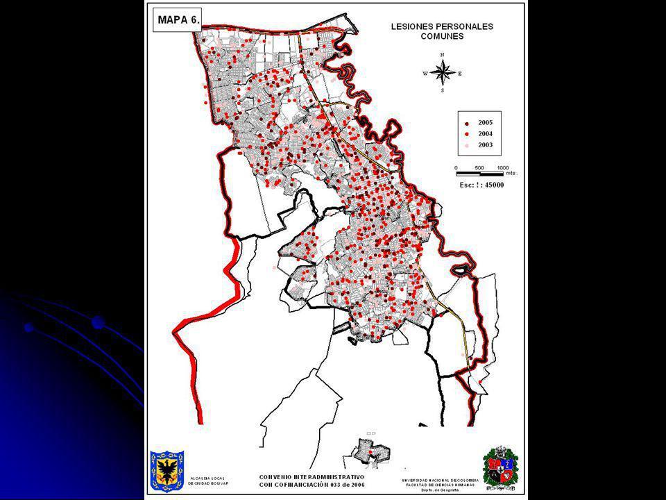 - HECHOS DELICTIVOS Periodo 1999 - 2005 Datos / Delitos disponibles = 10413 Delitos no georeferenciados (No reporta) = 2243 Delitos georeferenciados = 8170 - CONFLICTOS DE CONVIVENCIA Periodo 2005 Datos / Delitos disponibles = 974 Delitos no georeferenciados (No reporta) = 213 Delitos georeferenciados = 761 TOTAL GEOREFERENCIACIÓN = 8931